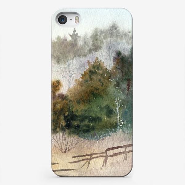 Чехол iPhone «Акварельный пейзаж, сосновый лес »