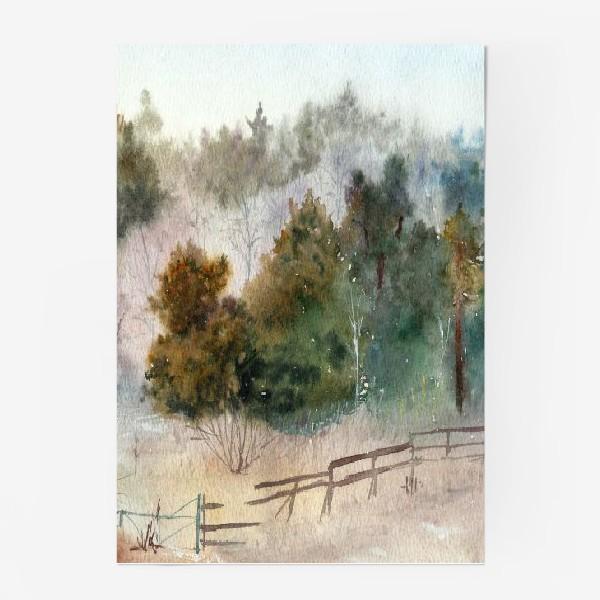 Постер «Акварельный пейзаж, сосновый лес »