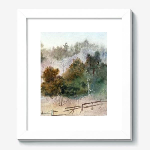 Картина «Акварельный пейзаж, сосновый лес »