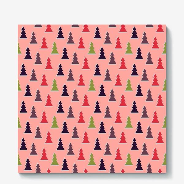 Холст «Треугольные разноцветные новогодние елки»