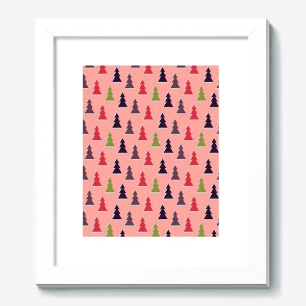 Картина «Треугольные разноцветные новогодние елки»