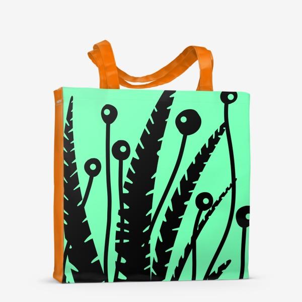 Сумка-шоппер «Тропические растения, черные кусты на зеленом»