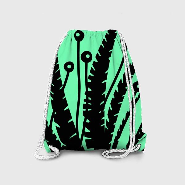 Рюкзак «Тропические растения, черные кусты на зеленом»
