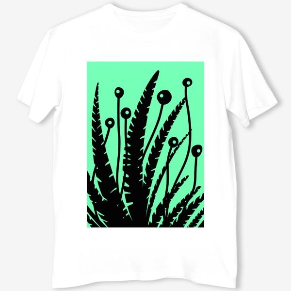 Футболка «Тропические растения, черные кусты на зеленом»