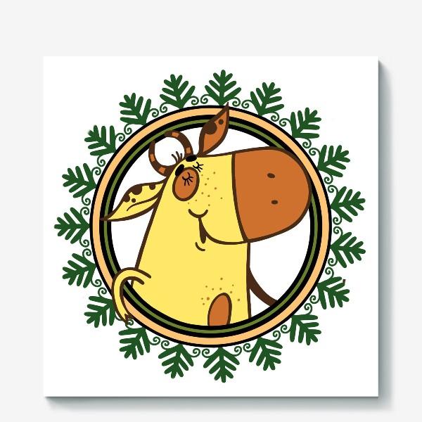 Холст «Новогодний бычок»