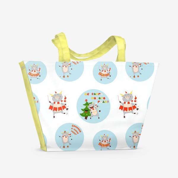 Пляжная сумка «Новогодние быки Узор поздравления голубые круги Рождество»