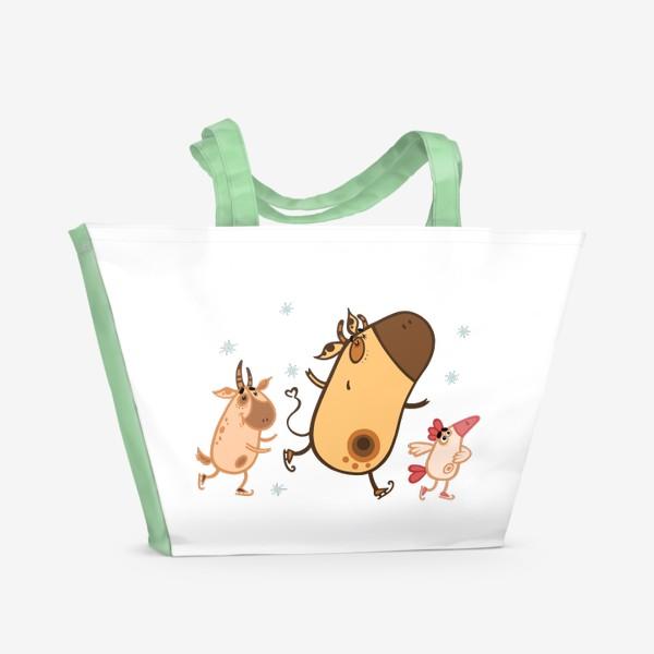 Пляжная сумка «Новогоднее катание»