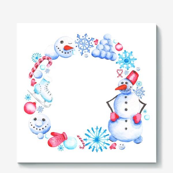 Холст «Новогодний венок со снеговиком»