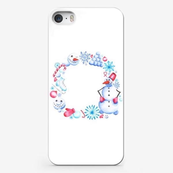 Чехол iPhone «Новогодний венок со снеговиком»