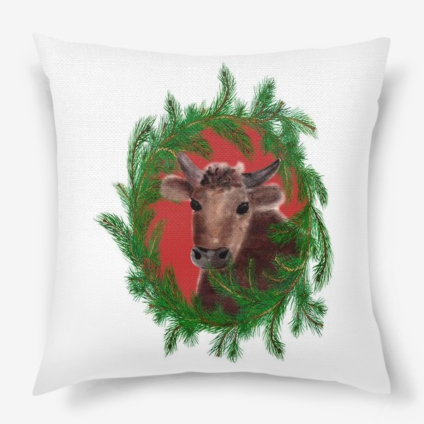 Подушка «Новогодний бык с еловым венком»