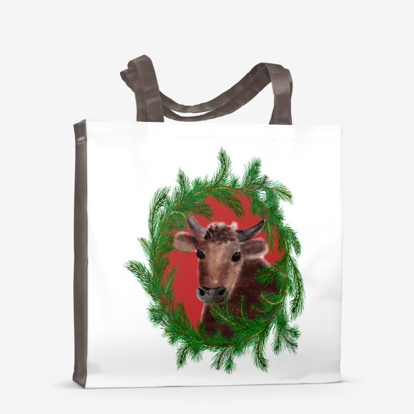 Сумка-шоппер «Новогодний бык с еловым венком»