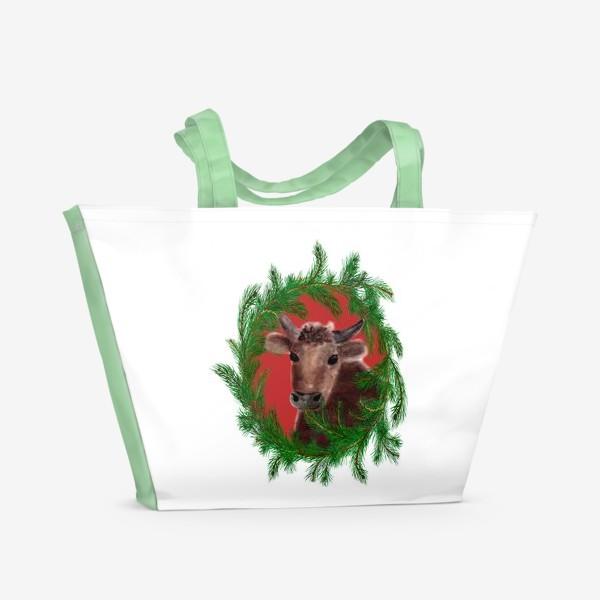 Пляжная сумка «Новогодний бык с еловым венком»