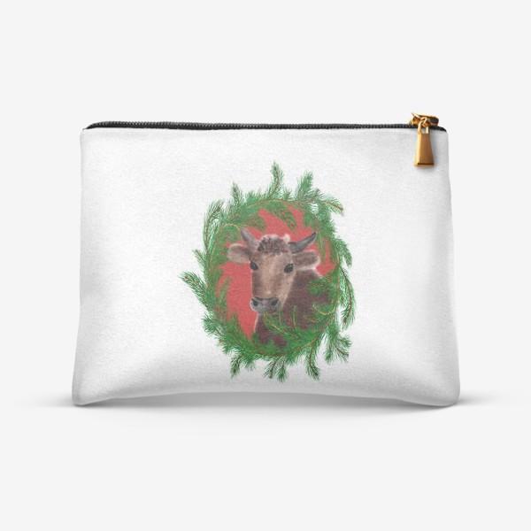 Косметичка «Новогодний бык с еловым венком»