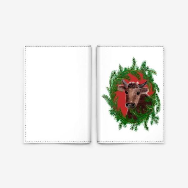 Обложка для паспорта «Новогодний бык с еловым венком»