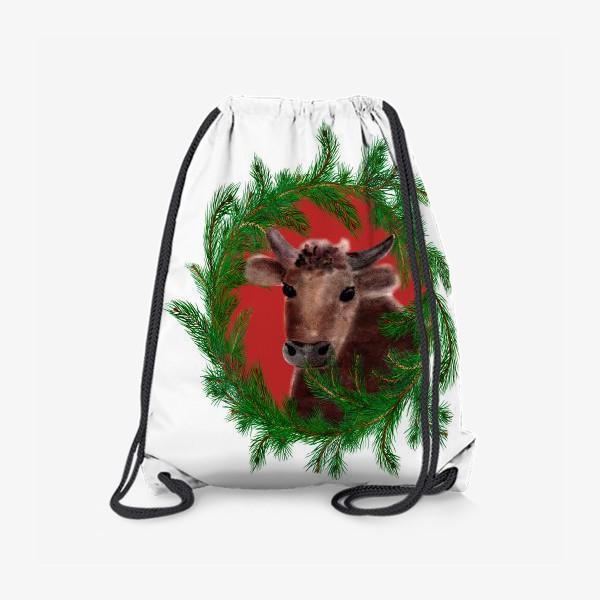 Рюкзак «Новогодний бык с еловым венком»