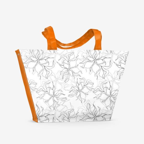 Пляжная сумка «Цветочный принт. Нежные лилии»