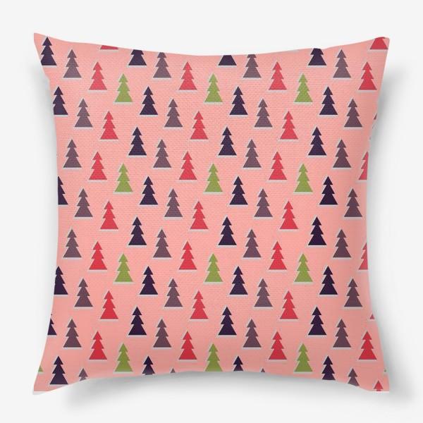 Подушка «Треугольные разноцветные новогодние елки»