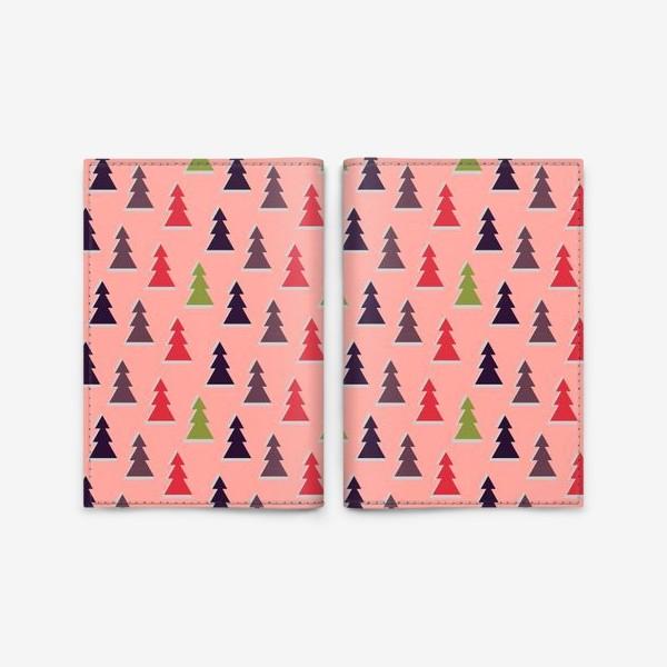 Обложка для паспорта «Треугольные разноцветные новогодние елки»