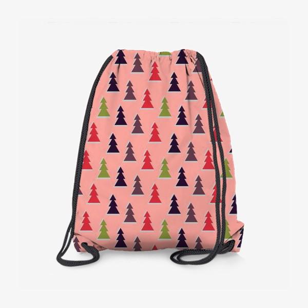 Рюкзак «Треугольные разноцветные новогодние елки»