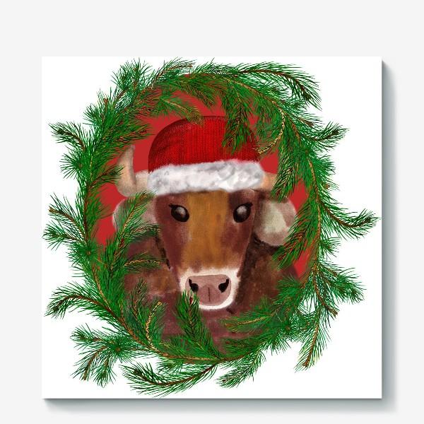 Холст «Новогодний бык Вася в красной шапочке с еловым венком»