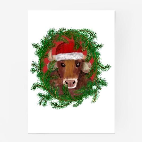 Постер «Новогодний бык Вася в красной шапочке с еловым венком»