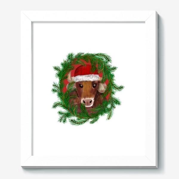 Картина «Новогодний бык Вася в красной шапочке с еловым венком»