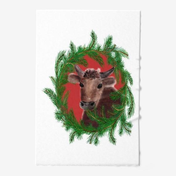 Полотенце «Новогодний бык с еловым венком»