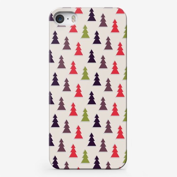 Чехол iPhone «Геометрические ели на светлом фоне»
