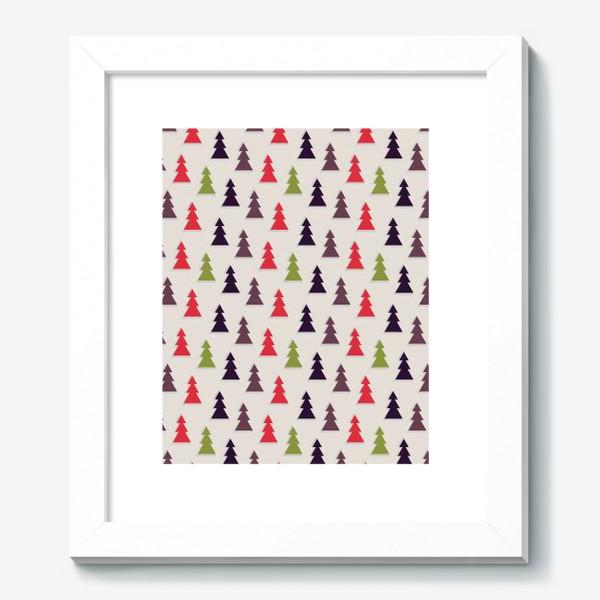 Картина «Геометрические ели на светлом фоне»