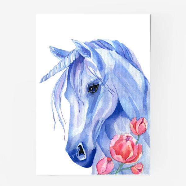 Постер «голубой единорог»