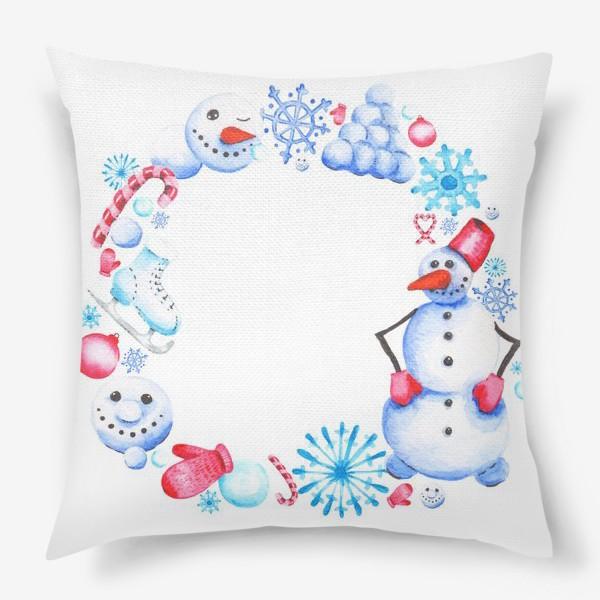 Подушка «Новогодний венок со снеговиком»