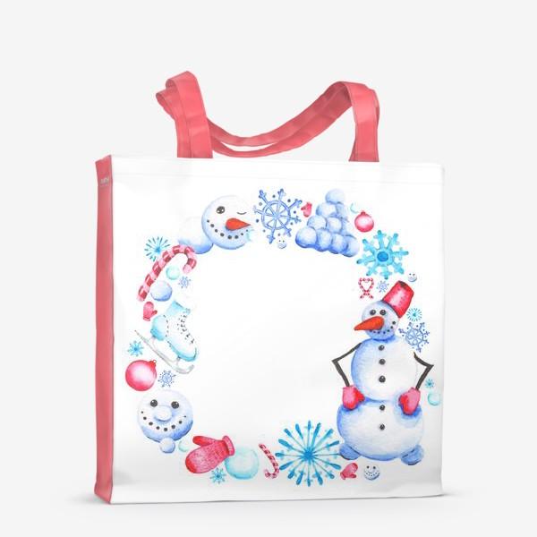 Сумка-шоппер «Новогодний венок со снеговиком»