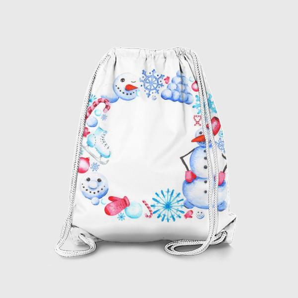 Рюкзак «Новогодний венок со снеговиком»