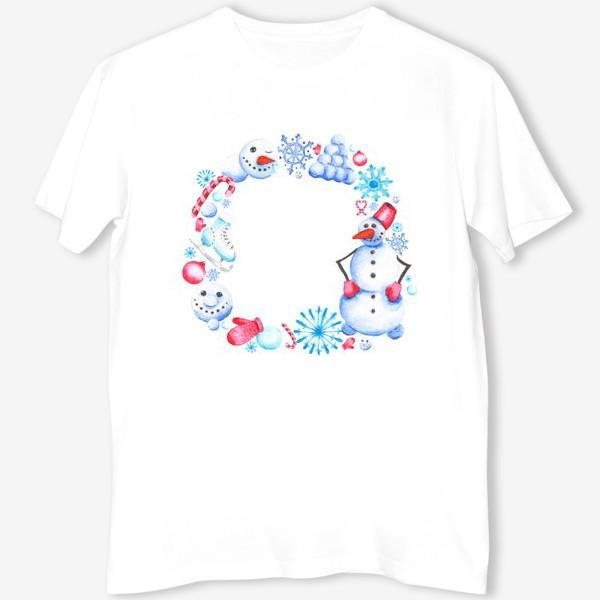 Футболка «Новогодний венок со снеговиком»