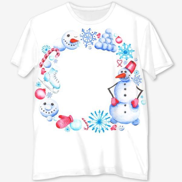 Футболка с полной запечаткой «Новогодний венок со снеговиком»