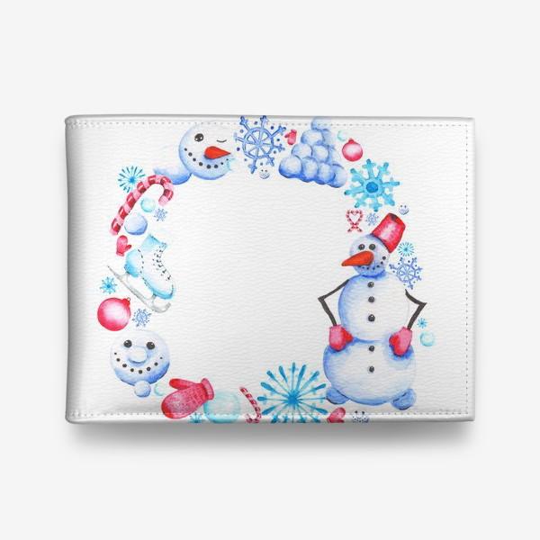 Кошелек «Новогодний венок со снеговиком»