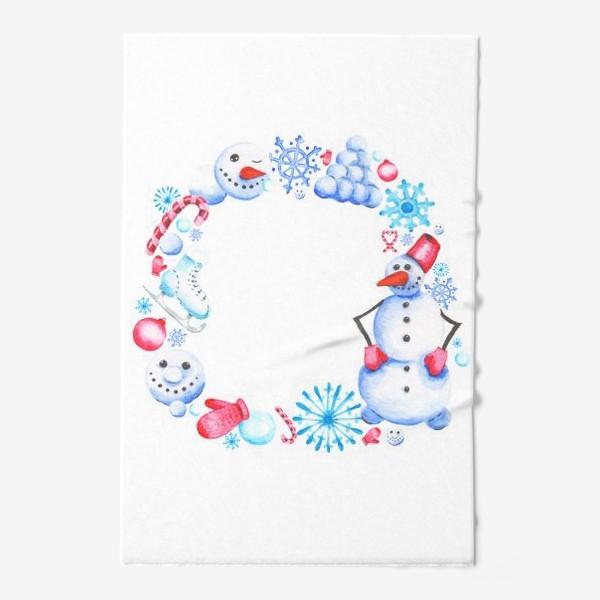 Полотенце «Новогодний венок со снеговиком»