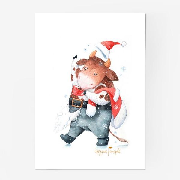 Постер «открытка к году быка»
