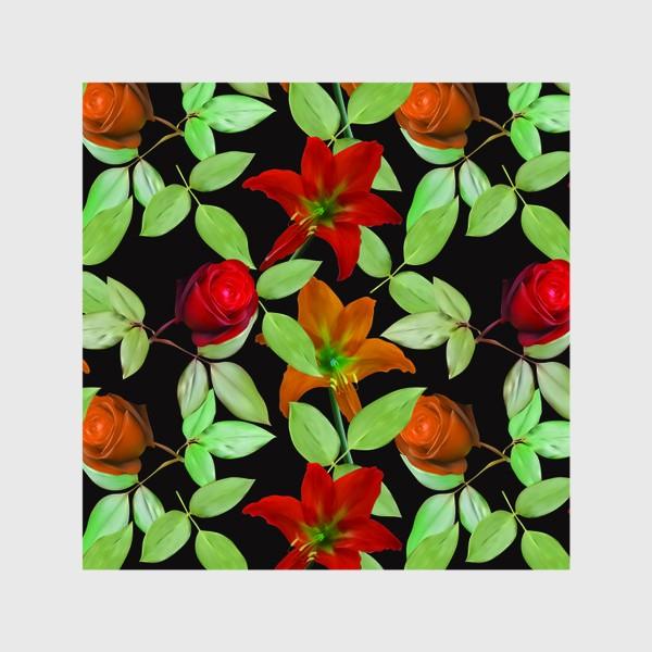 Шторы «Бесшовный фон с розами»