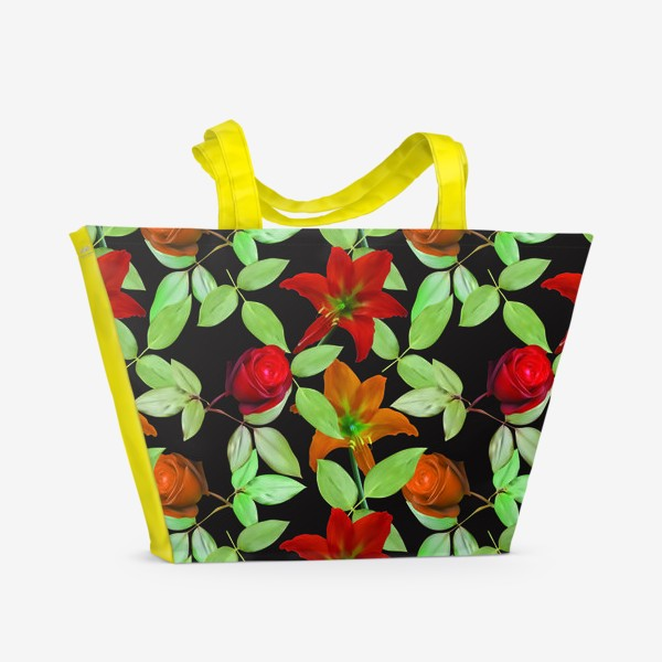 Пляжная сумка «Бесшовный фон с розами»