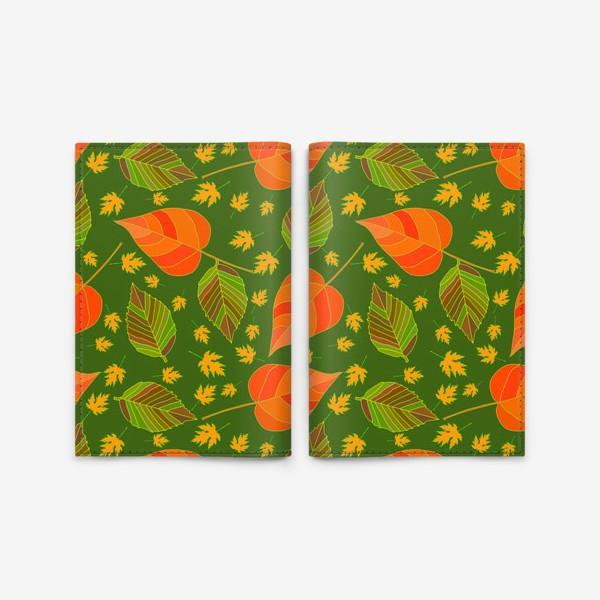 Обложка для паспорта «Бесшовный фон с осенними лесными листьями.»