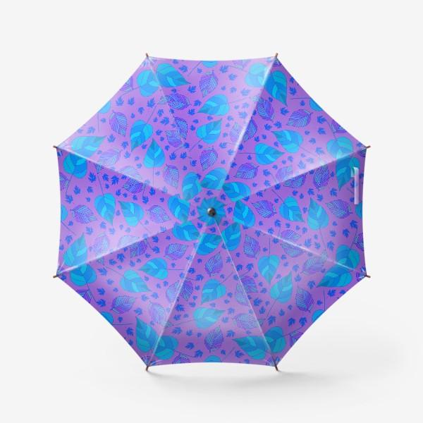 Зонт «Бесшовный фон с осенними лесными листьями.»