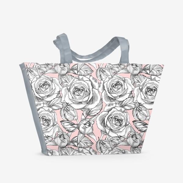 Пляжная сумка «Танец серых роз»