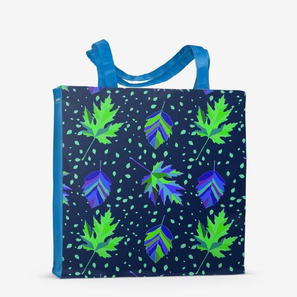 Сумка-шоппер «Бесшовный фон с осенними лесными листьями.»