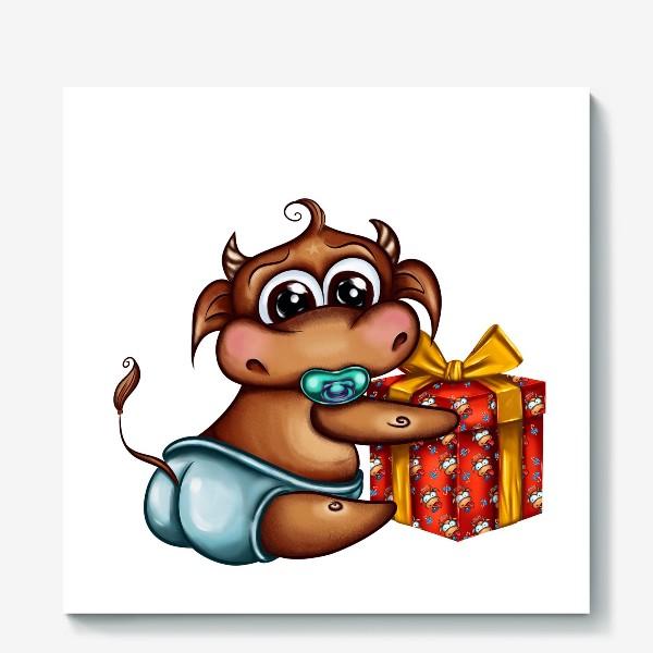 Холст «Малыш Бычок с подарком »