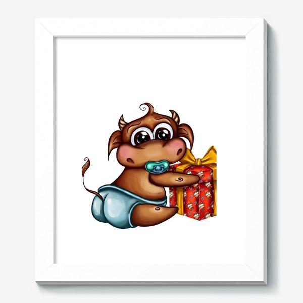 Картина «Малыш Бычок с подарком »