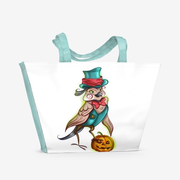 Пляжная сумка «Воробей с тыквой »