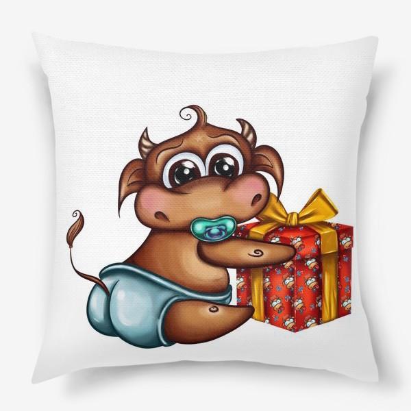 Подушка «Малыш Бычок с подарком »