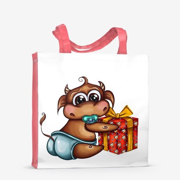 Сумка-шоппер «Малыш Бычок с подарком »