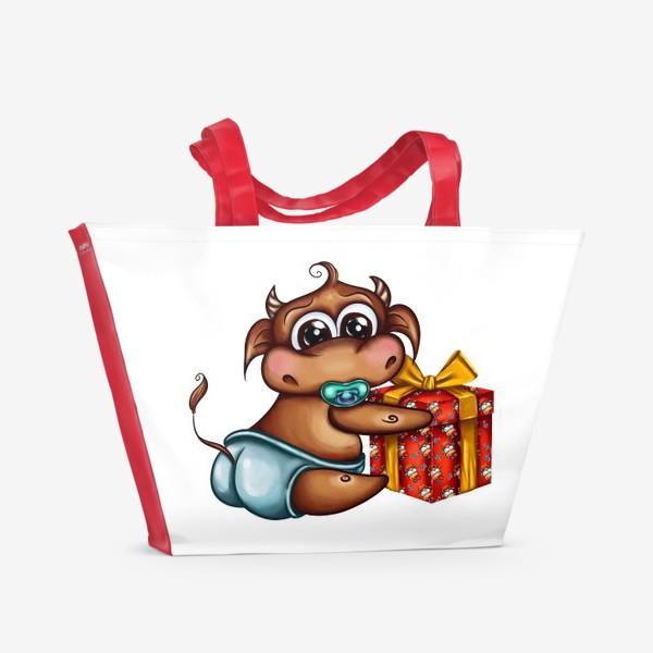 Пляжная сумка «Малыш Бычок с подарком »